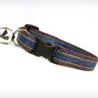 "Cat Collar - ""Heartbreak Hotel"" - Dark Blue Denim"