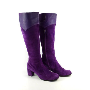Mod 1960s Boots Vintage 1960s Nordstrom Best Purple Suede Leather Women's size 9