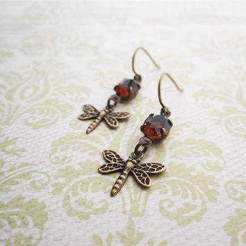 Dragonfly Jewelry - Brass Victorian Earrings  - Warm Brown