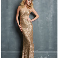 Night Moves by Allure 2014 Prom Dresses - Gold Sequin Slim Geometric Prom Dress