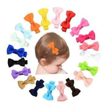 "20 Pcs/Lot Grosgrain 2"" Hair Bow with Alligator Clips for Baby Girl Toddlers Kids Infant Children Handmade Barrettes Hair Accessories"