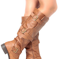 Chestnut Faux Leather Knee High Strappy Biker Boots