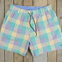 The Dockside Swim Trunk - Seersucker Gingham - Mardi Gras
