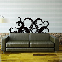 Kraken Octopus Tentacles Wall Decal Sea Ocean Animal Wall Decals Murals - Living Room Nursery Kids Bedroom Bathroom Wall Art Home Decor 0058