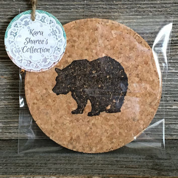 Black Bear Coasters, Absorbent Cork Coasters, Set of 4 Natural Coasters, Rustic Coasters, Country Coasters, Cabin Coasters - Item# 018