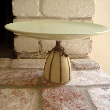 Light Green Cake Stand, Sage Green Cupcake Stand with Cream Base, Elegant Desert Stand, Up Cycled