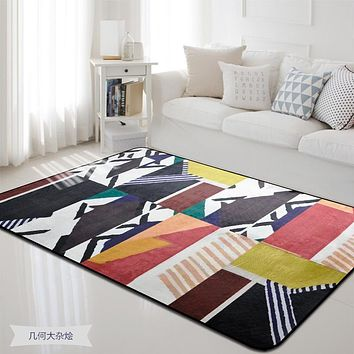 Geometric Colorful Printed Rectangle Carpet Rugs