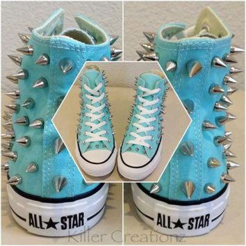DCCKHD9 NEW Custom spiked Converse - aqua blue high tops with silver spikes, size 7 or 8 women