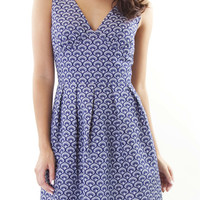 Scalloped Woven Flare Dress