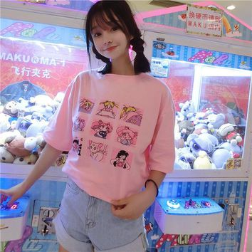 Fiodcrg Kawaii T Shirt Summer Women Tops 2018 Harajuku T-shirts Print Sailor Moon Loose Short Sleeve Plus Size Tee Shirt Femme