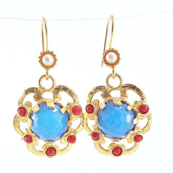 Dangly Cloud Shaped Gemstone Ethnic Turkish Earrings - Blue Red Jade - Gold Plated Brass