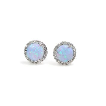 Sterling Silver Light Blue Created Opal and Cubic Zirconia Halo Stud Earrings
