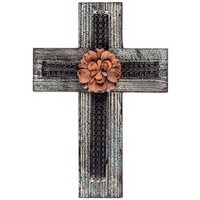 Natural Wood Cross with Red Metal Flower | Shop Hobby Lobby