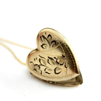 14K GF Etched Heart Locket