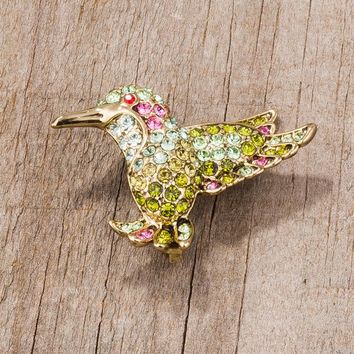 Gold Trim Hummingbird Brooch Pin with Crystals