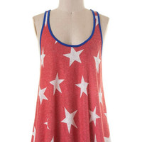 Fourth of July Bow Back Tank Top - Red