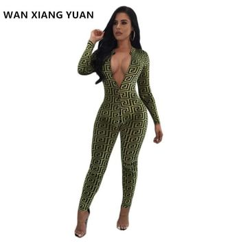 WANXIANGYUAN Jumpsuits for Women 2017 Autumn Sexy One Piece Outfits Jumpsuits Long Sleeve Bodycon Rompers Womens Jumpsuit