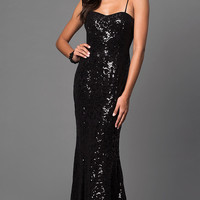Spaghetti Strap Long Sequin Formal Gown