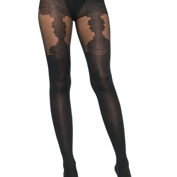 Spandex opaque tights with woven floral garter detail