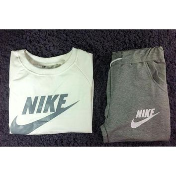 """NIKE"" Classic Popular Women Casual Letter Print Long Sleeve Top Sweater Pants Sweatpants Set Two-Piece Sportswear Grey I/A"