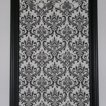 "Madison Black & White Damask fabric ~ Framed Magnetic Memo Board 22-1/2""x12-1/2"""