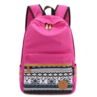 College Students Red Daypack Ethnic Bookbag Canvas Backpack Travel Bag