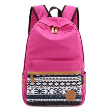 College Students Red Daypack Ethnic Bookfashion bag Canvas Unique Backpack Travel fashion bag