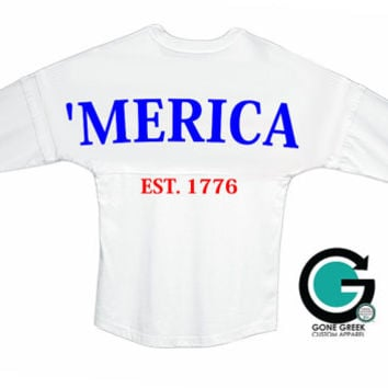 CUSTOM 'Merica Pom Jersey -- Show off your USA Pride and your Monogram!! - Great for Sorority and Fraternity's!