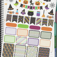 45 Happy Halloween Themed Stickers for Erin Condren Life Planner, Plum Paper, Filofax or Kiki K Planners, Calendars or Scrapbooks