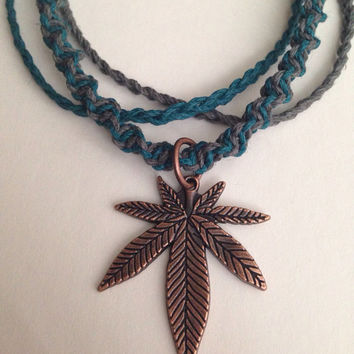 Necklace- Layered Turquoise and Gray Hemp Cord Choker with Pot Leaf Charm