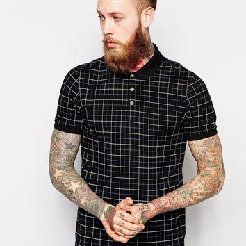 ASOS Polo Shirt With Check Print - Black