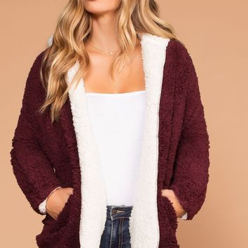 French Toast Sherpa Burgundy and Ivory Jacket