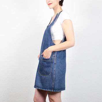 Vintage 90s Dress Mini Dress Blue Jean Jumper Overalls Dress 1990s Dress Gap Soft Grunge Dress Dungarees Hipster Overall Pinafore S M Medium