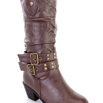 Brown Slouchy Studded Strappy Cowboy Boots Faux