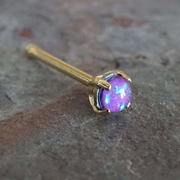 Purple Opal Gold Nose Bone Gold Nose Stud Nose Ring Prong Set
