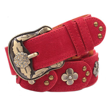 fast delivery ! belts for women leather belt strap female crystal diamond flower elegant pin buckle band jeans cintos feminino