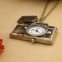 Vintage camera pocket watch charm necklace with antique bronze magnetic tape charm
