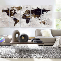 "XLARGE 30""x70"" 5 Panels Art Canvas Print Watercolor Map World Push Pin Travel Wall color Brown beige decor Home interior (framed 1.5"" depth)"