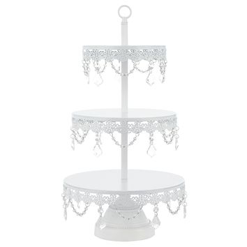 "Sophia White 3-Tier Cupcake Stand, Dessert Cake Tower with Glass Crystals, 23"" Tall Metal Round Stacked Wedding Party Display"