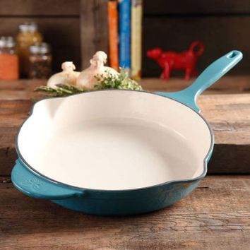 "The Pioneer Woman Timeless Cast Iron, 12"" Cast Iron Enamel Skillet - Walmart.com"