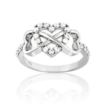 The Infinity Heart Ring, Clear CZ