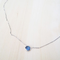 Blue Sapphire Necklace with Gold Chain