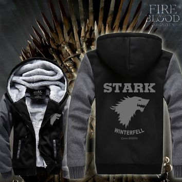 Hot New Game of Thrones Stark Direwolves Hoodie Logo Winter JiaRong Fleece Mens Sweatshirts Free Shipping