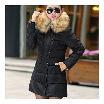 Winter Woman Slim Middle Long Plus Size Down Coat   black