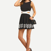 Chic Little Black Dress Sleeveless Hollow Patchwork Lace Dress