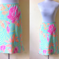 green floral straight skirt (free size)
