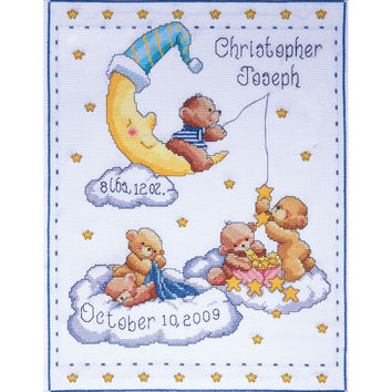 """Bears In Clouds Birth Record Counted Cross Stitch Kit-11""""""""X14"""""""" 14 Count"""