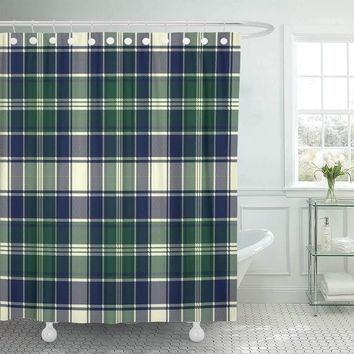 Irish Plaid Checkered Flannel Shower Curtains Hooks Included