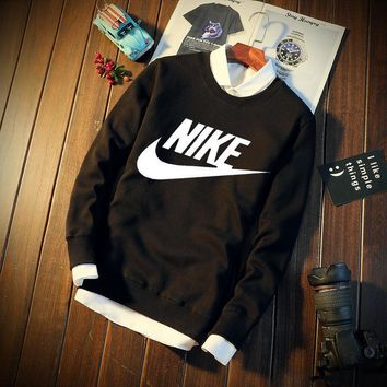 Winter Long Sleeve Korean Plus Size Round-neck Hoodies [12225161683]