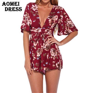 2016 Bohemain V neck Red Print Floral Women Jumpsuit Summer Beach Holiday Playsuits Beachwear Sexy Bodysuit Overalls Clothing
